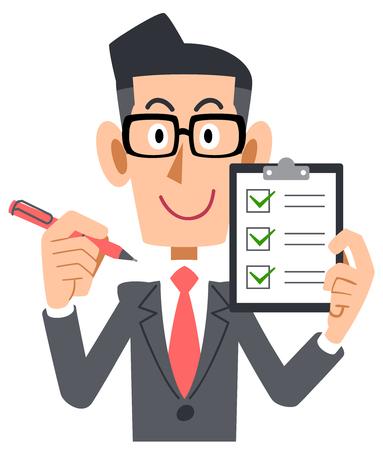 Illustration pour Corporate checklist check eyeglasses - image libre de droit