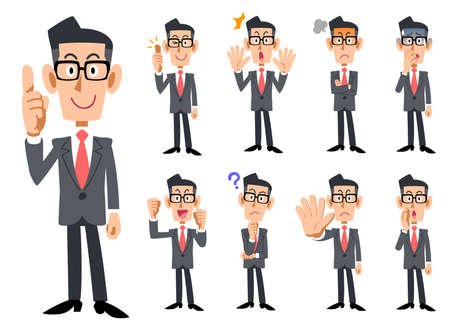 Ilustración de Red Necktie and gray suits wearing eyeglasses businessman's gestures and expression - Imagen libre de derechos