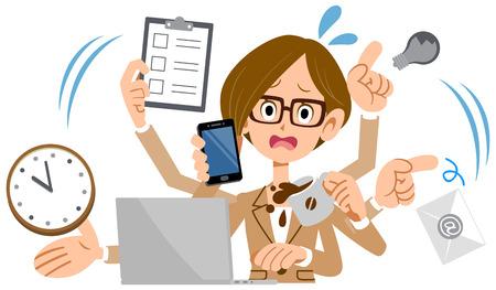 Illustrazione per multitasking woman - Immagini Royalty Free