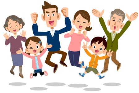 Illustration pour jumping Family - image libre de droit