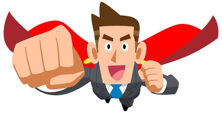Ilustración de Businessman flying with cloak - Imagen libre de derechos