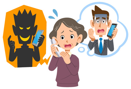 Illustrazione per Senior woman being scammed by phone fraud - Immagini Royalty Free