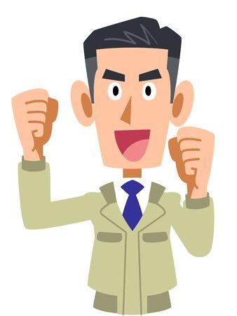 Ilustración de Upper body of a man wearing work clothes - Imagen libre de derechos
