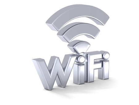 Photo for 3D illustration of silver shiny WiFi symbol - Royalty Free Image