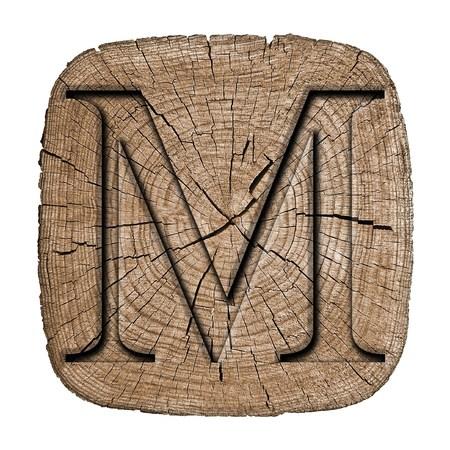 Photo pour Wooden alphabet block, letter M - image libre de droit