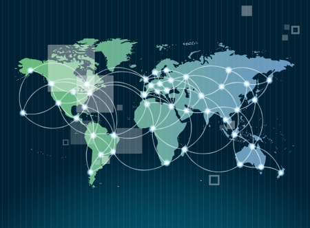 Global networking symbol of international comunication featuring a world map concept with connecting technology communities using computers and other digital devices