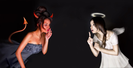 Photo for Portrait of angel and devil girls and copyspace between them. - Royalty Free Image