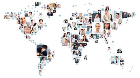Foto de Collection of different people portraits placed as world map shape - Imagen libre de derechos