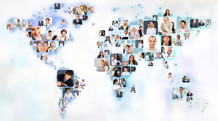 Photo pour Collection of different people portraits placed as world map shape - image libre de droit