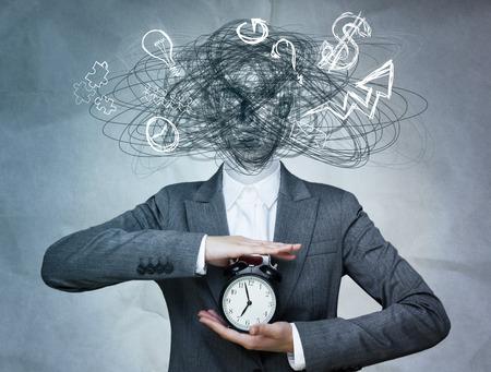 Foto de Conceptual image of business woman without head and daily routine icons instead. Artificial intelligence concept - Imagen libre de derechos
