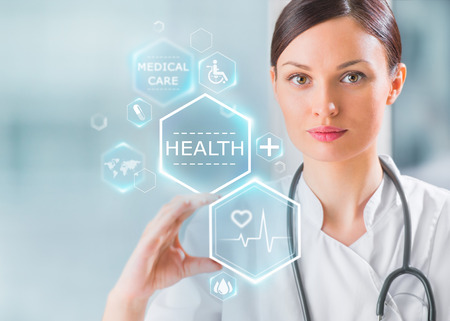 Photo for Female medical doctor working with healthcare icons. Modern medical technologies concept - Royalty Free Image