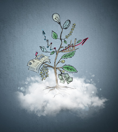 Concept of Growing company with sketch of a tree with business symbol growing from a cloud