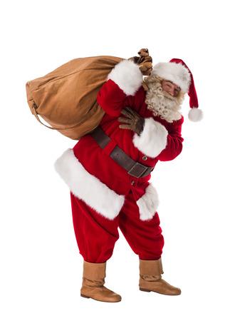 Foto de Santa Claus Portrait with sack Isolated on White Background - Imagen libre de derechos