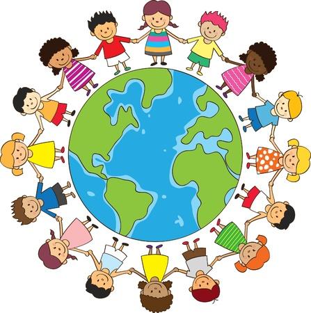 happy children holding hand with globe