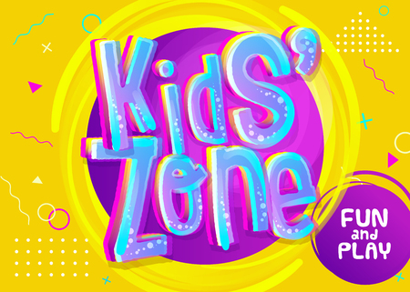 Illustrazione per Kids Zone Vector Banner in Cartoon Style. Bright and Colorful Illustration for Children's Playroom Decoration. Funny Sign for Kids Game Room. Yellow Background with Childish Pattern. - Immagini Royalty Free
