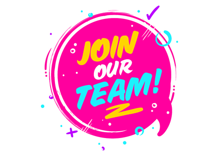 Illustration pour Join Our Team phrase on pink Rounded Sign with Geometric Elements. - image libre de droit