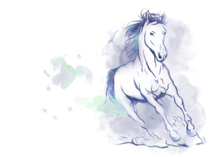 watercolored running horse