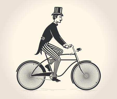 Illustration pour Vector illustration of gentleman ride a vintage bicycle - image libre de droit