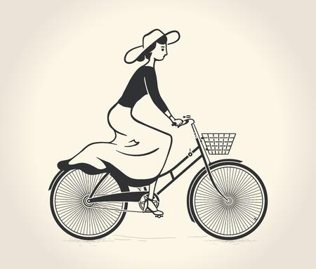 Illustration pour Vector illustration of lady ride a vintage bicycle - image libre de droit