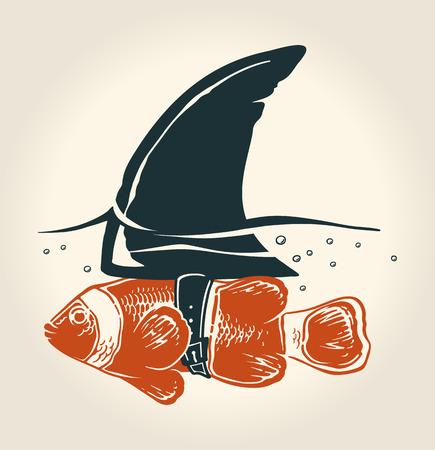 Ilustración de Little fish with great idea - Imagen libre de derechos