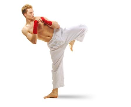 Man training martial arts Isolated on white background