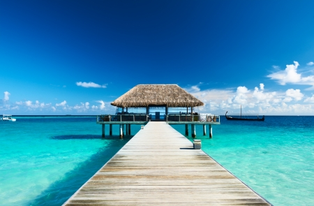 Photo for Beautiful beach with jetty at Maldives - Royalty Free Image