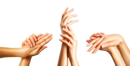 Foto de Beautiful female hands with french manicure set - Imagen libre de derechos