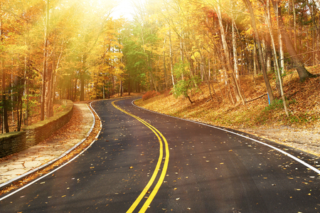 Photo pour Autumn scene with road in forest at Letchworth State Park - image libre de droit