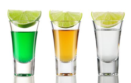 Foto de Shot drink set isolated on white - Imagen libre de derechos