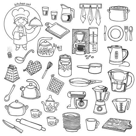 Illustration pour Kitchen utensils and appliances white and black vector icons set - image libre de droit