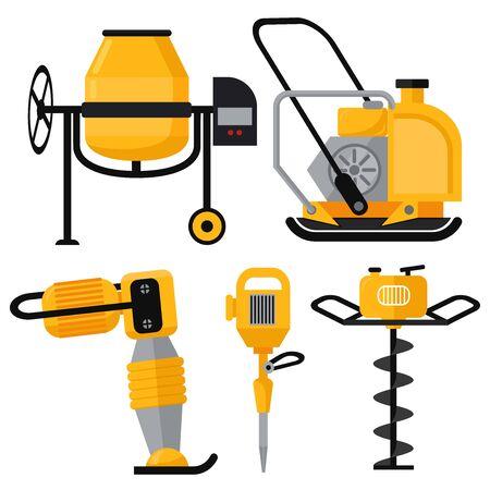 Illustration pour Construction Equipment vector icons set in flat style. Vibrating rammer electric disc gas drill jackhammer chainsaw concrete mixer - image libre de droit