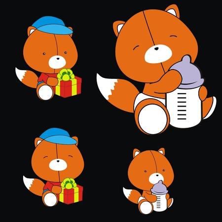 fox baby cartoon set in vector format