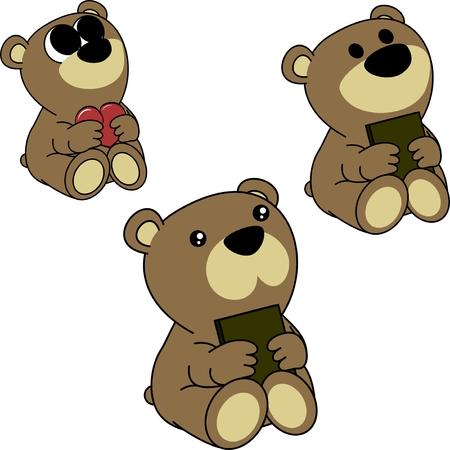 Ilustración de Sweet little teddy bear cartoon set in vector - Imagen libre de derechos