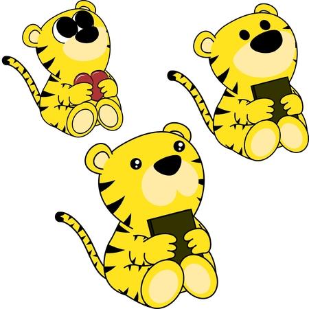 Ilustración de Sweet little baby tiger cartoon set in vector format very easy to edit - Imagen libre de derechos