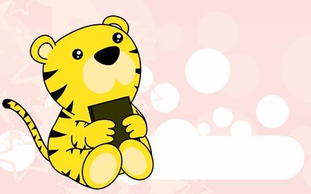 Ilustración de Cute little baby tiger cartoon background in vector format very easy to edit - Imagen libre de derechos