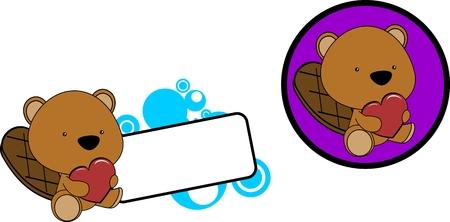 Ilustración de Cute lovely baby beaver cartoon set in vector format very easy to edit - Imagen libre de derechos