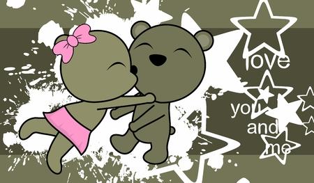 Ilustración de Sweet love baby boy and girl bear. - Imagen libre de derechos