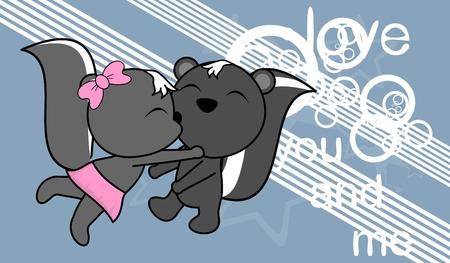 Ilustración de sweet love baby boy and girl kissing skunk cartoon background in vector format very easy to edit - Imagen libre de derechos