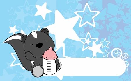 Ilustración de Cute baby skunk card design. - Imagen libre de derechos