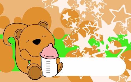 Ilustración de Cute baby squirrel card design. - Imagen libre de derechos