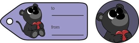 Ilustración de sweet little baby panther cartoon hug heart copyspace sticker in vector format very easy to edit - Imagen libre de derechos