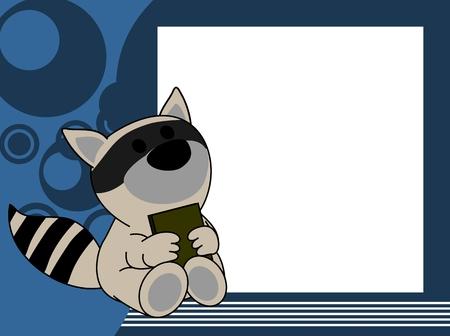 Ilustración de cute baby raccoon book picture frame background in vector format very easy to edit - Imagen libre de derechos