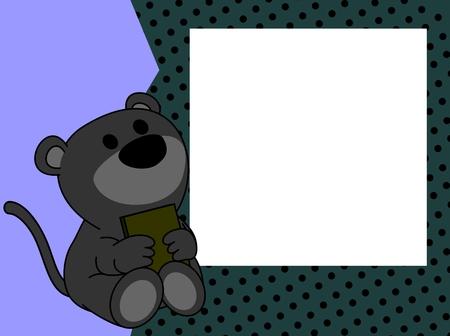 Ilustración de cute baby panther book picture frame background in vector format very easy to edit - Imagen libre de derechos