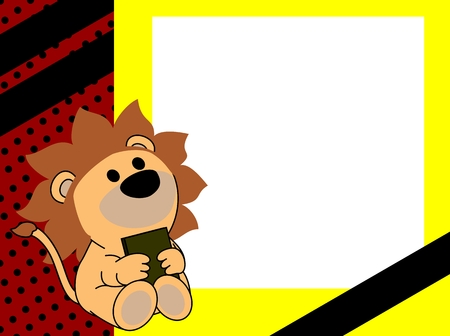 Ilustración de cute baby lion book picture frame background in vector format very easy to edit - Imagen libre de derechos