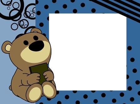 Ilustración de cute baby teddy bear book picture frame background in vector format very easy to edit - Imagen libre de derechos