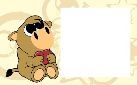 Ilustración de cute baby camel valentine picture frame background in vector format very easy to edit - Imagen libre de derechos