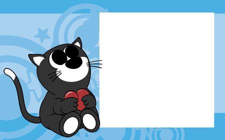 Ilustración de cute baby cat valentine picture frame background in vector format very easy to edit - Imagen libre de derechos