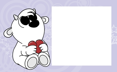Ilustración de cute baby goat valentine picture frame background in vector format very easy to edit - Imagen libre de derechos