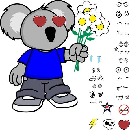 Ilustración de cute little kid koala expressions set in vector format very easy to edit - Imagen libre de derechos