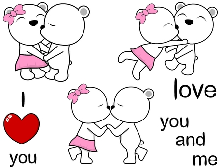 Ilustración de lovely cute polar bear kissing cartoon love valentine set in vector format - Imagen libre de derechos
